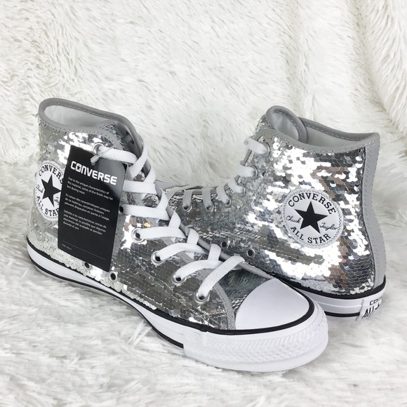 033a5bb09cce63 NWT Converse silver sequined hi tops sz 7.5